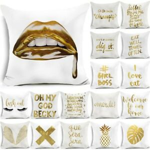 """18"""" Polyester Gold Letters Throw Pillow Case Sofa Car Cushion Cover Home Decor"""