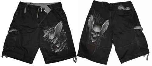 Biker// Schädel// Heavy Metal// Einfarbig// Spiral Direct Vintage Cargo-Shorts