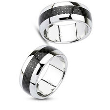 Tungsten Carbide Ring w/ Black Carbon Fiber Center Inlay In Dome style Sz11