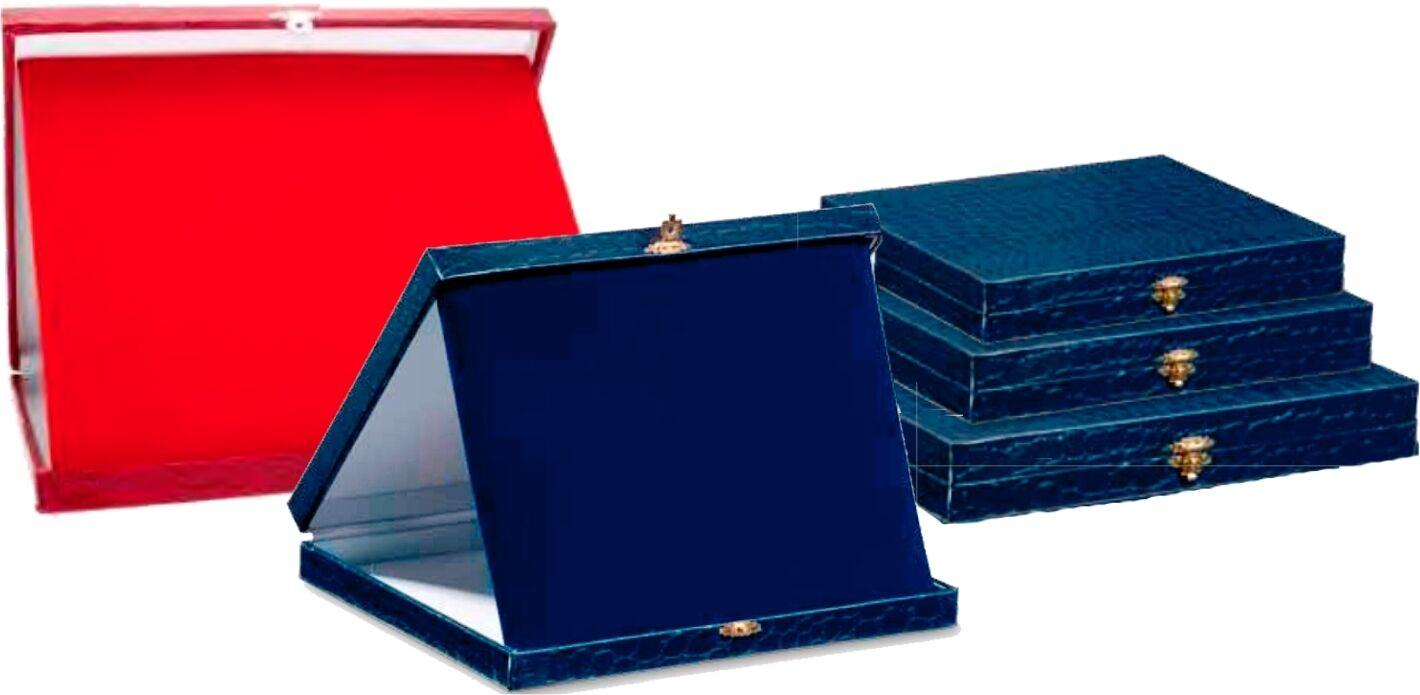 TRIS Astuccio Cartoncino e Velluto red o blue con targha (premiazioni sportive)