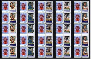 GEELONG-CATS-SET-OF-5-150th-FOOTBALL-STRIPS-OF-10-MINT-VIGNETTE-STAMPS