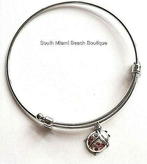 Silver Crystal Ladybug Charm Bracelet Lady Bug Red Insect Wire Plated USA Seller