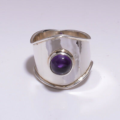 925 Sterling Silver Ring Size US 7, Natural Amethyst Handcrafted Jewelry CR2951