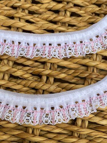 White /& Pink Gathered Nottingham Lace Trim 1.5cm Baby Dolls laverslace