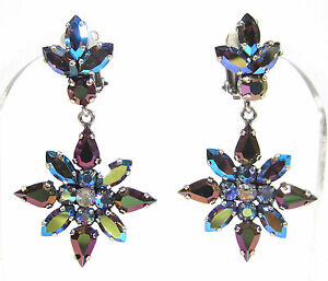 SoHo-Ohrclips-Stern-vintage-Kristall-starlight-aurore-borealis-Strass-space-age