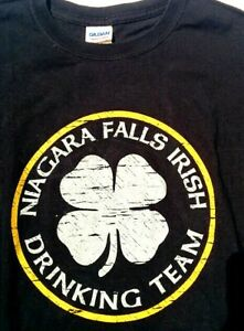 NIAGARA FALLS IRISH DRINKING TEAM Shamrock Clover T SHIRT Large Black St Patrick