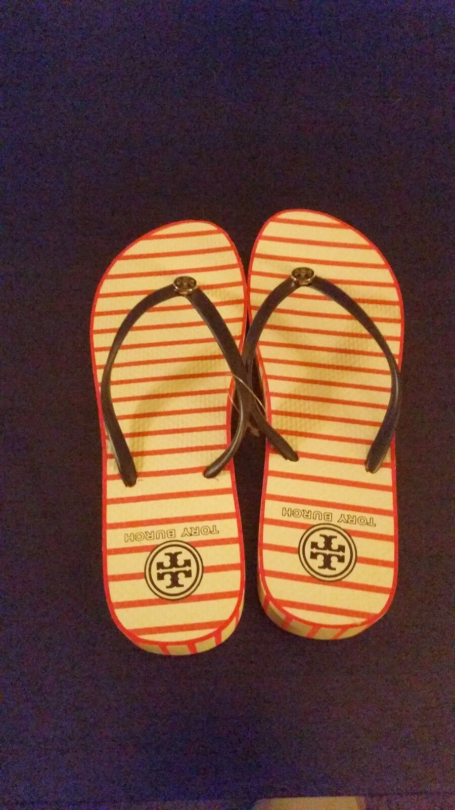 Brand New Tory Burch Rosso Stripe Wedge Flip Flops. Very hard to find!