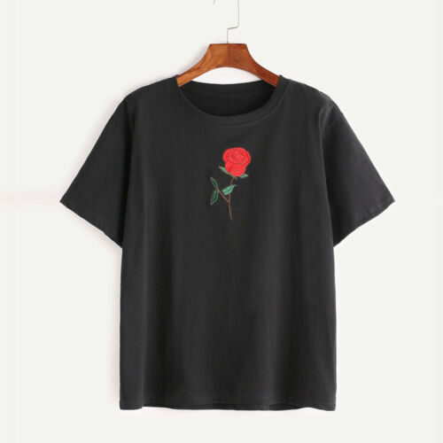Mode Damen Sommer Basic T-shirt Damen Kurzarm Stickerei Lockere Bluse