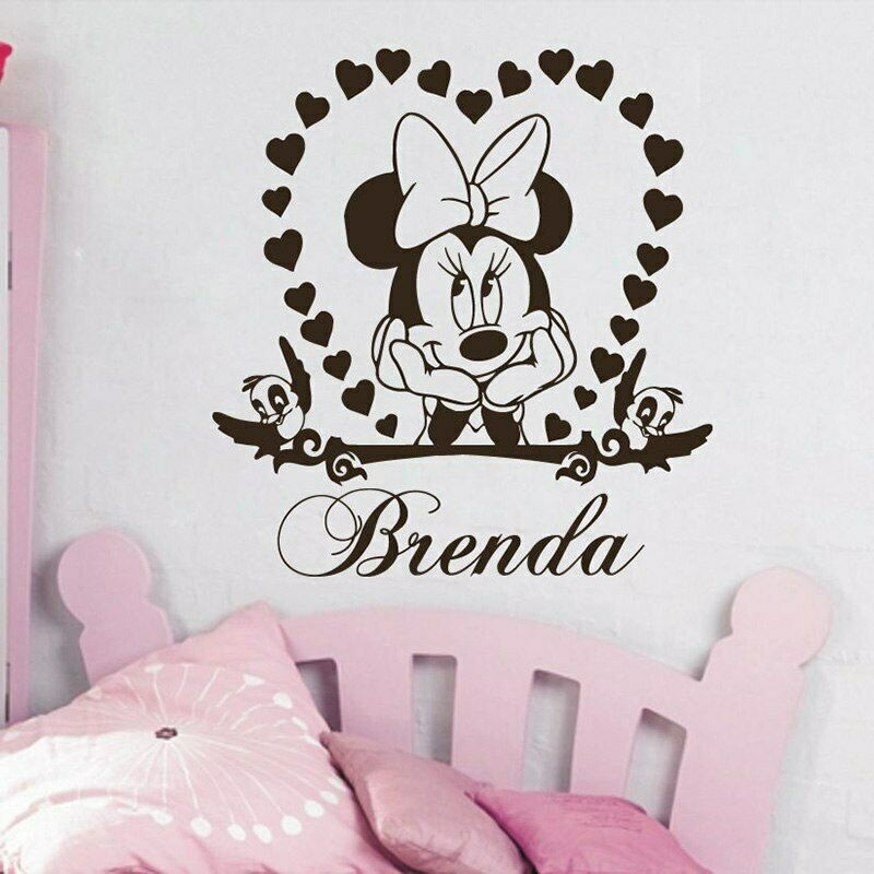 Minnie Mouse Disney Wall Sticker Personnalisé Tout Nom Filles étoiles Decal Decor