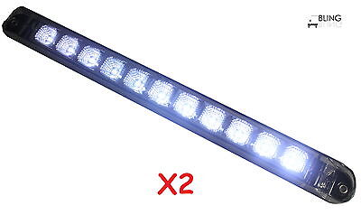 "(2X) 17"" Back-up Reverse Fog Clear White LED Light Bar Truck Trailer WATERPROOF"