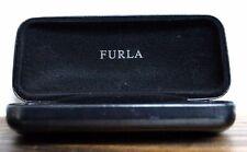"FURLA BLACK LEATHER HARD SUNGLASSES EYEGLASSES VELVET LINED CASE Sz 6""x2.75""x2"""