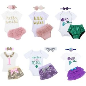 3Pcs Infant Baby Girl Cute Outfit Short Sleeves Tops+Sequins Shorts+ ... 55ace9bf988d
