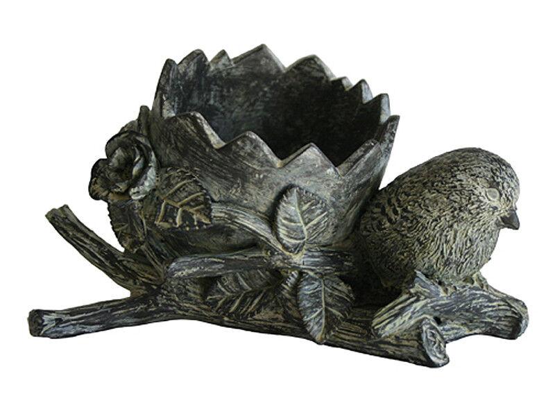 Planters-en forma de huevo de ave con Estampado Plantador-Acabado antiguo grisstone