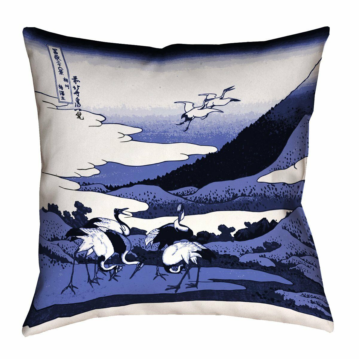 ArtVerse Katsushika Hokusai Japanese Courtesan Poly Twill Double Sided Print Throw Pillow Green//Blue 26 x 26