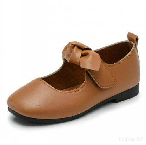 Kids Girl Sweet Square Toe Ankle Strap Flats Casual Bowknot Dance Costumes Shoes
