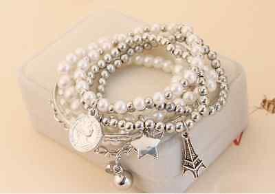 Fashion Womens Jewelry Gold Metal Pearl Charm Bangle Multilayer Pendant Bracelet