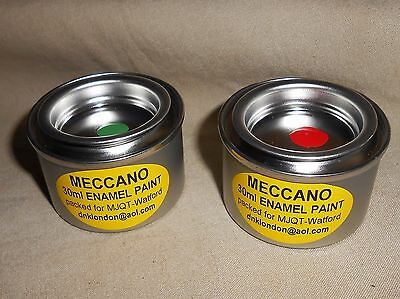MECCANO ENAMEL PAINT AVAILABLE IN LIGHT GREEN & RED 30 ml TINS  PACKED FOR MJQT