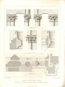 1851 French Architectural Print Church Cathedral Transept Capitals Columns Plan Art