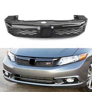 Black-SI-Style-Front-Bumper-Grille-Replacement-Fit-2012-Honda-Civic-Sedan-4Doors