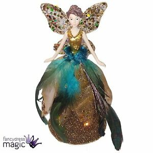 image is loading gisela graham gold peacock feather glitter fairy angel - Peacock Christmas Tree Topper