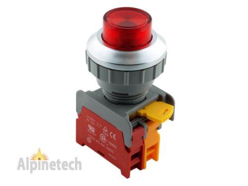 ATI LXL30 Red 30mm Momentary Push Button Switch Illuminated 220V LED NC