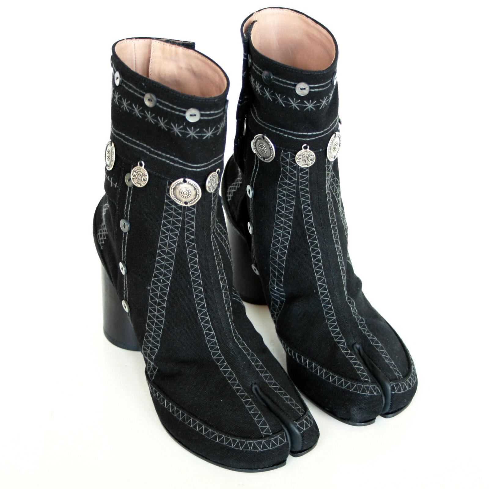 MAISON MARTIN MARGIELA split toe gypsy coin embroidered black tabi boots 35 NEW
