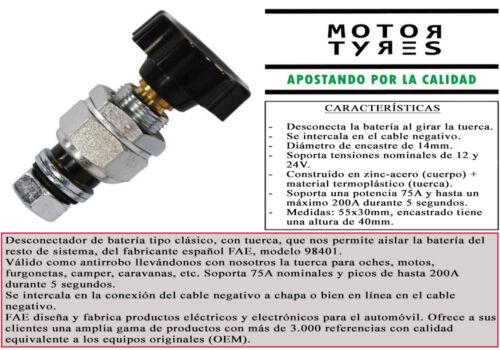 DESCONECTADOR DE BATERIA TUERCA FAE 75A 200A 12V 24V CORTA CORRIENTE COCHE MOTO