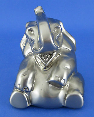 Elephant Figurine Sculpture Gray Silver Metal Raised Trunk