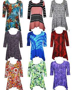 New-Womens-Plus-Size-Pleated-Tunic-Uneven-Hem-Top-Ladies-Dress-16-18-20-22-24-26