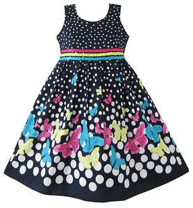 Robe-Fille-Marine-Bleu-Papillon-Partie-Princesse-Enfant-Vetements-4-12-ans