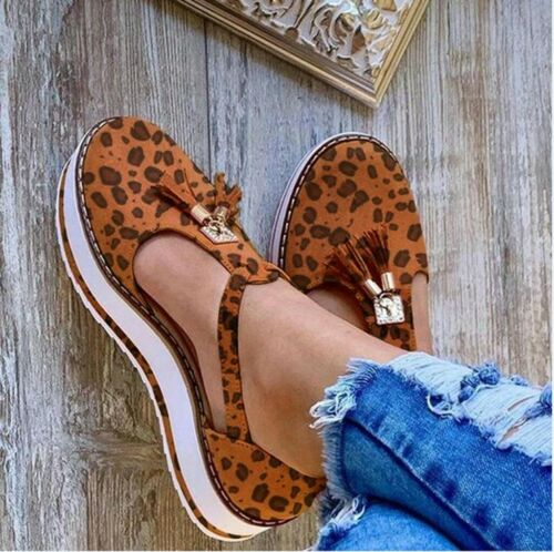 Women Tassel Round Toe Flat Pumps Thick Bottom Buckle Strap Casual Beach Shoes