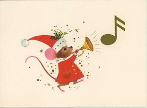 fd546721e9d17 VINTAGE CHRISTMAS MOUSE HORN SANTA HAT COSTUME MUSIC NOTE GREETING ...