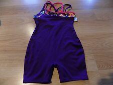 Size XS 4-5 Circo Deep Plum Purple Dance Gymnastics Unitard Leotard Pink Trim