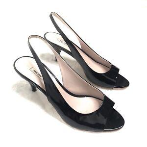 d5ce7c426e57c2 Miu Miu Black Patent Leather Peep Toe Sling Back Kitten Heels Sz 35 ...