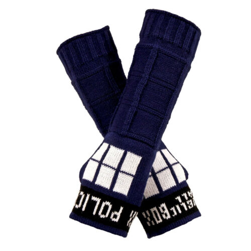 Adult Doctor Who BBC TARDIS Police Call Box Cosplay Costume Arm Warmers Gloves