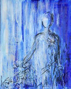 PEINTURE-PERSONNAGE-TABLEAU-ABSTRAIT-original-signe-HZEN-034-SILHOUETTE-BLEUE-034