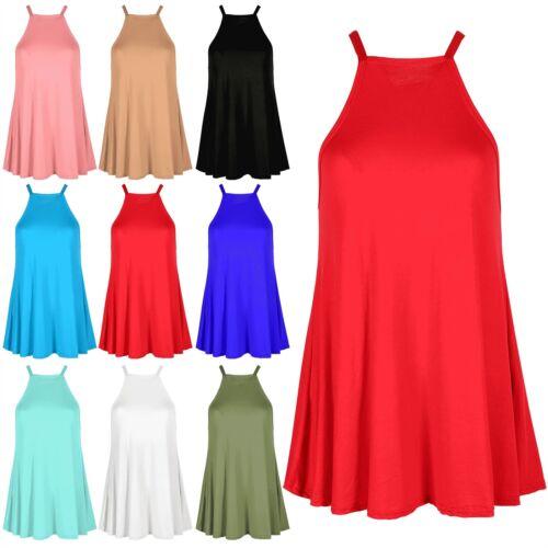 Womens Ladies Cami High Neck Sleeveless Flared Swing Tank Top Plain Vest Top