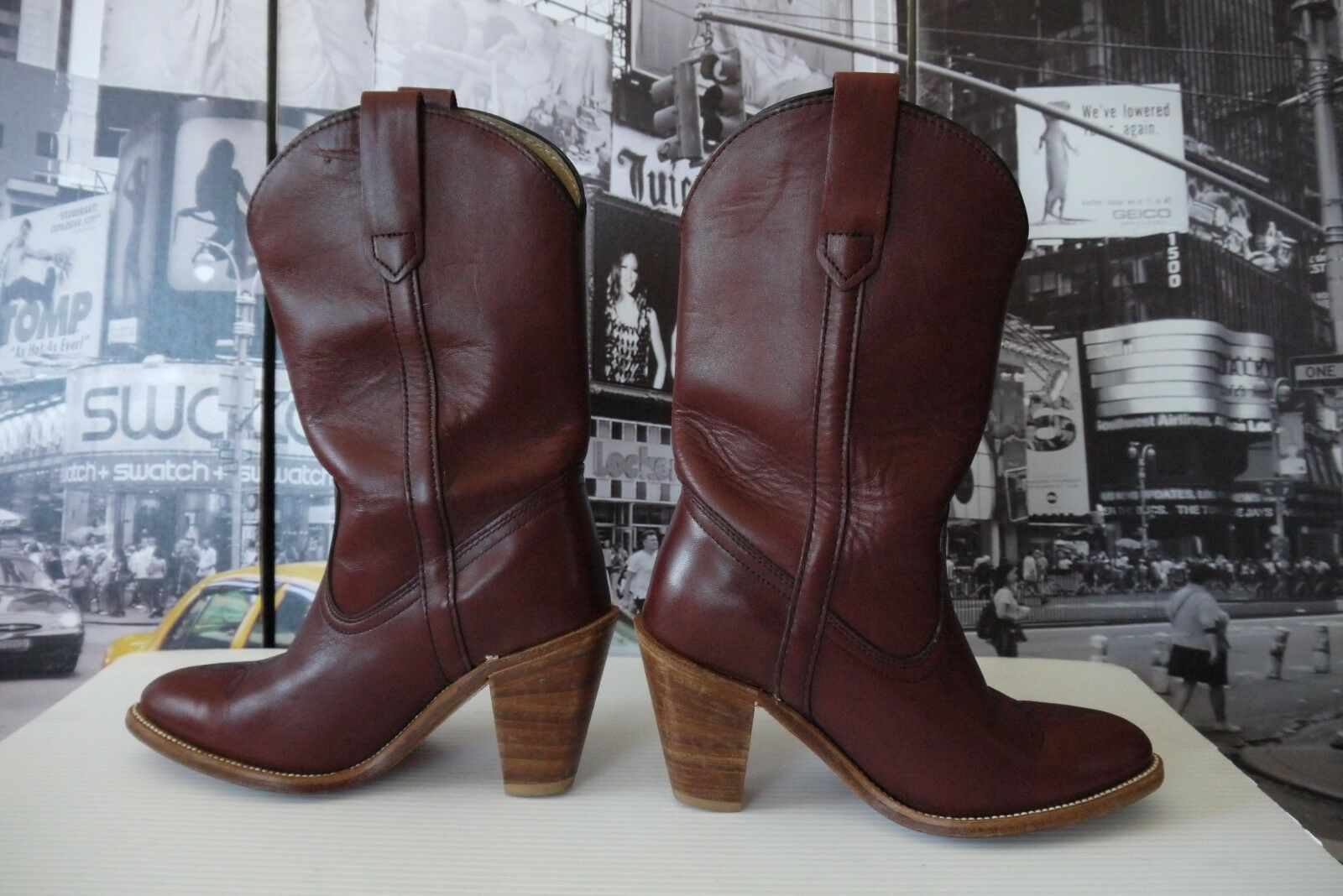 Vintage 80's Frye Leather Cowgirl boots Burgundy US 6.5 B Made in USA so Nice
