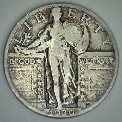 1930-S 25c Standing Liberty Silver Quarter Genuine