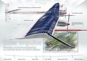 Solar Impulse Expérimentale Suisse Sun-powered Avion Timbre Feuille (2012 Burundi)-afficher Le Titre D'origine Performance Fiable