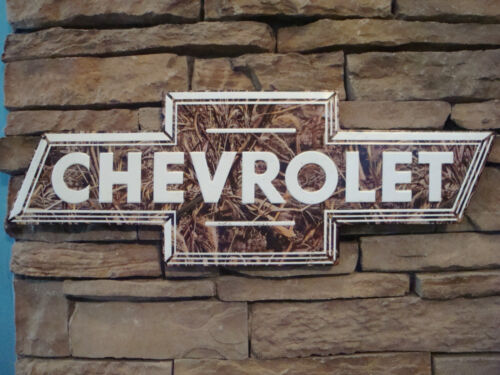 Chevrolet Bow Tie Logo Embossed Metal Sign Camouflage Vintage Style Garage New