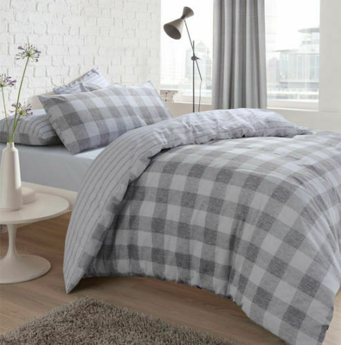 Luxurious Gingham Check Pattern Duvet Cover Set Reversible Bedding Sets Pieridae