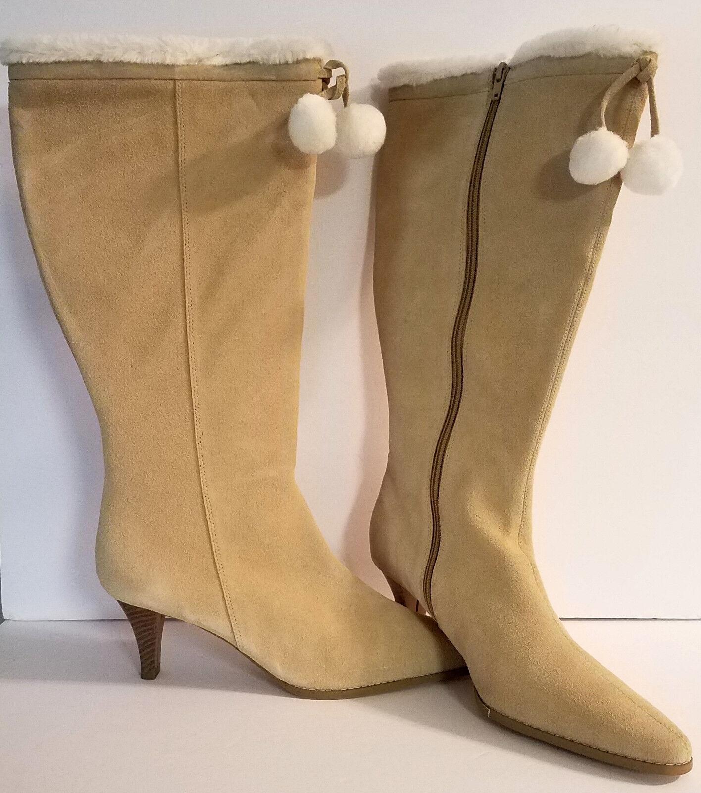 NEW   Women's Size 10M, 2.5  Heel, Tan Suede Boots w Ivory Faux Fur Trim PomPoms