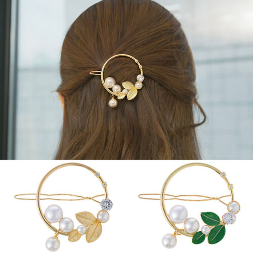 Fashion Hair Accessories Diamond /& Pearl Lady Hairpin Ponytail Holder Barrette