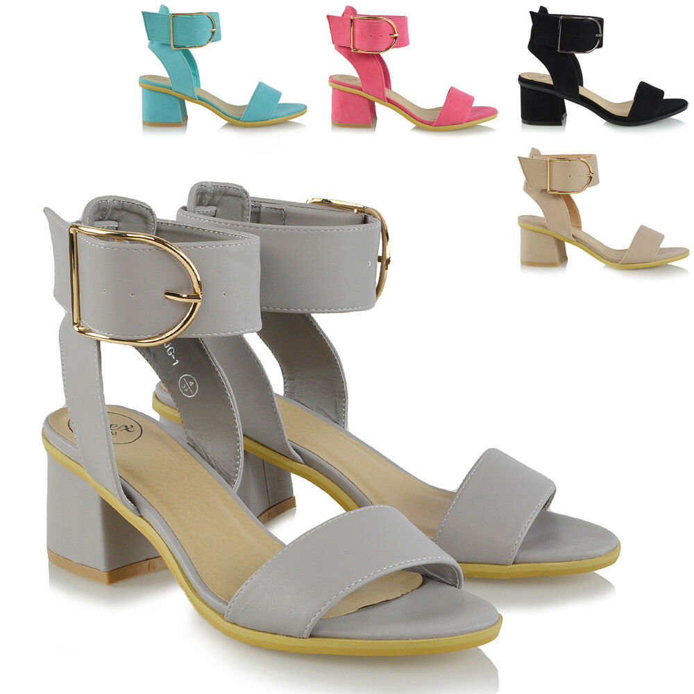 Ladies Ankle Strap Sandals Low Block Heel Heel Block Womens Peep Toe Party Shoes Size da7793