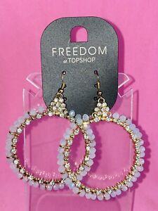 FREEDOM at TOPSHOP diamonte/opaque bead LARGE HOOP DROP EARRINGS bnwt