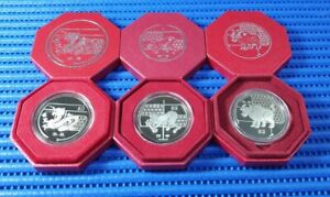 2009, 2012 & 2016 Singapore Lunar $2 Cupro-Nickel Proof-Like Coin (Lot of 3 Pcs)