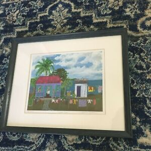 "Helen Davis Ltd Edition Print ""Wash Day"" Tropical Island Caribbean Folk Art Sea"