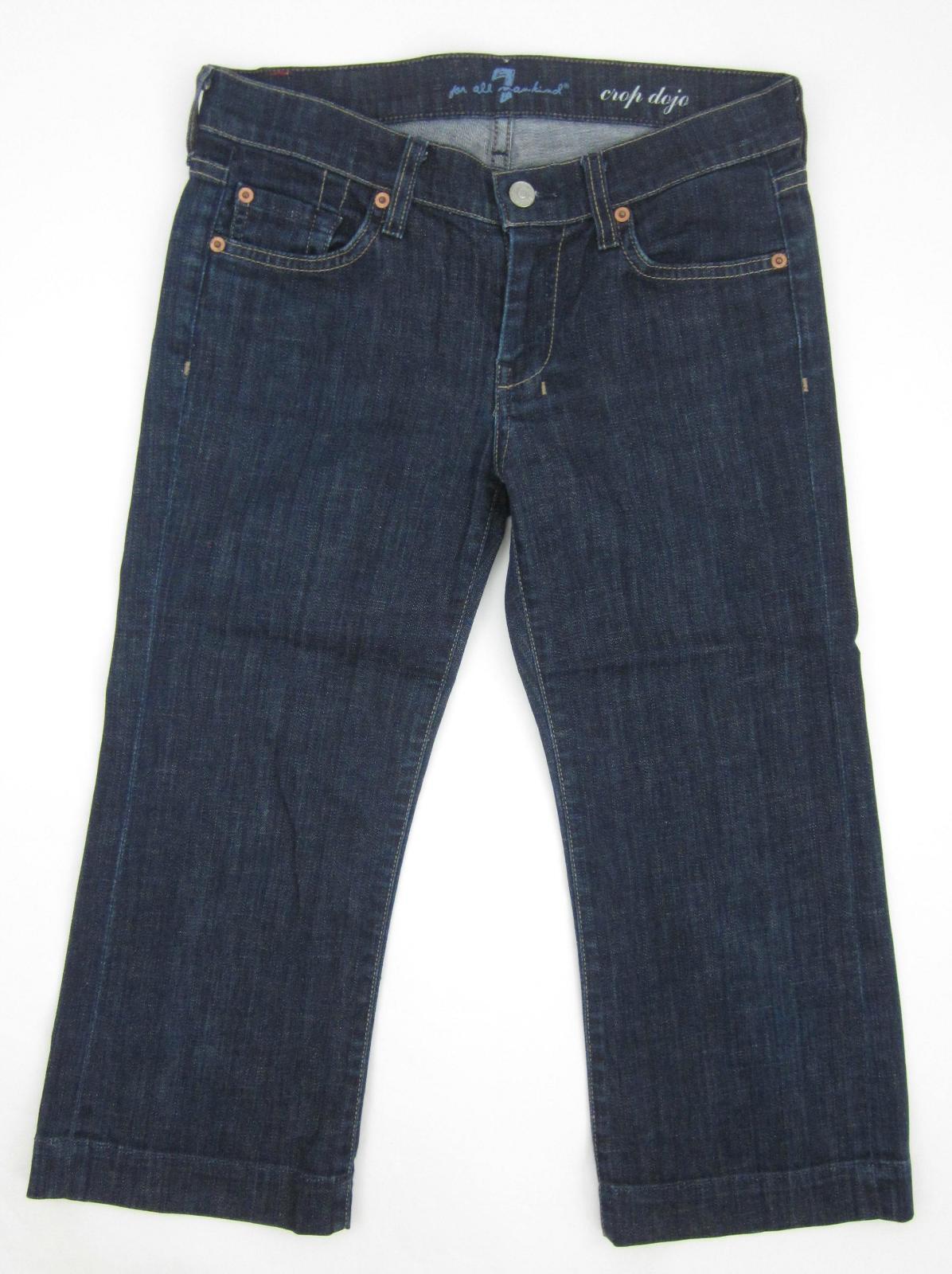 Seven 7 For All Mankind Crop Dojo Capri Jeans Size 27 Dark Wash Excellent