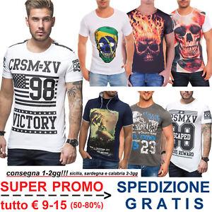 Maglietta-T-Shirt-da-Uomo-Stampata-Maglia-Estiva-Fashion-Moda-Casual-SALDI-50